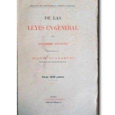 Libros antiguos: DE LAS LEYES EN GENERAL. SPENCER, HERBERT. Lote 244470240