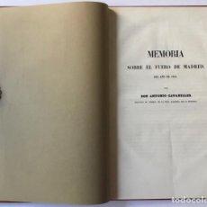 Libros antiguos: MEMORIA SOBRE EL FUERO DE MADRID. - CAVANILLES, ANTONIO.. Lote 123174044