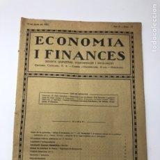 Libros antiguos: REVISTA ECONOMIA I FINANCES DECEMBRE 1921 ANY VI NUM 13 DUMPING INGRESOS DE FERROCARRILS BANCS BORSA. Lote 244563230