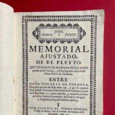 Libros antiguos: 1745 - MEMORIAL SOBRE EL MAYORAZGO DE SAN GINES FUNDADO POR LA MARQUESA DE AYAMONTE - SEVILLA. Lote 245039805