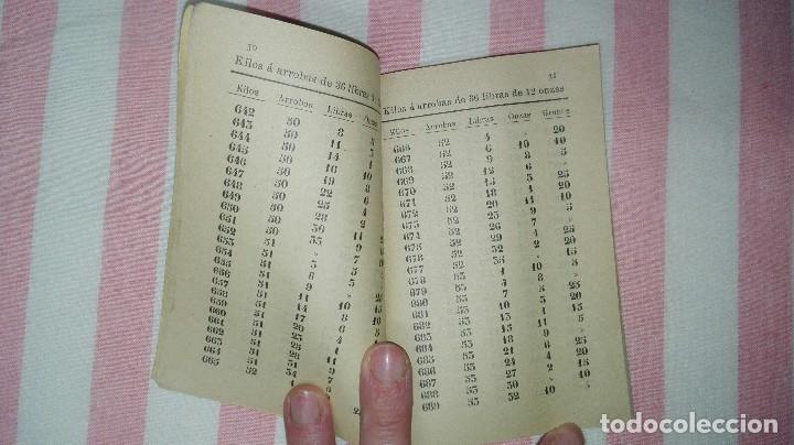 Libros antiguos: Tablas de reducción de kilos a arrobas valencianas y de arrobas castellanas.Año 1913 - Foto 5 - 245133095