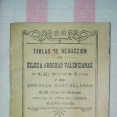 Libros antiguos: TABLAS DE REDUCCIÓN DE KILOS A ARROBAS VALENCIANAS Y DE ARROBAS CASTELLANAS.AÑO 1913. Lote 245133095