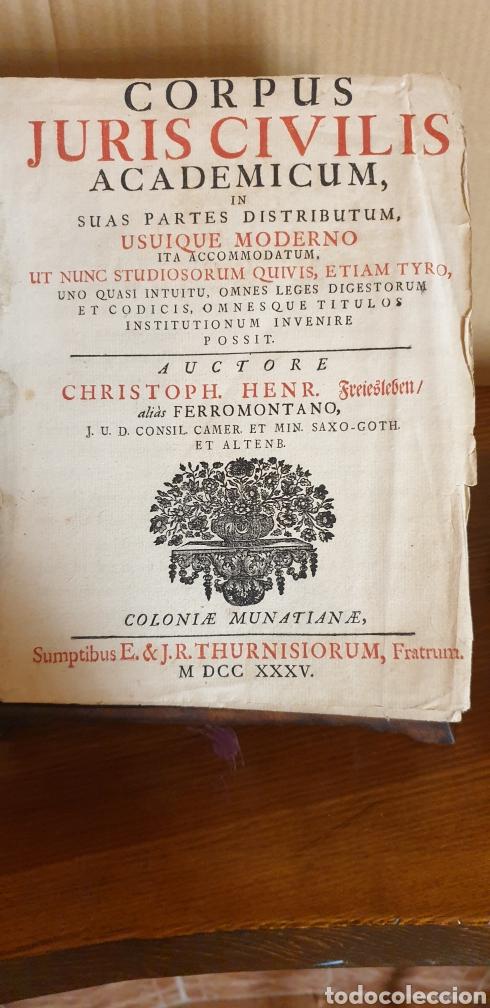 Libros antiguos: LIBRO DE JUSTINIANO, CORPUS IURIS CIVILIS, Colonia 1735 - Foto 2 - 245363945