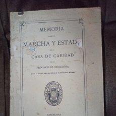Libros antiguos: MEMORIA SOBRE LA MARCHA Y ESTADO DE LA CASA DE CARIDAD DE BARCELONA. 1880-1882. 1883. Lote 246257375