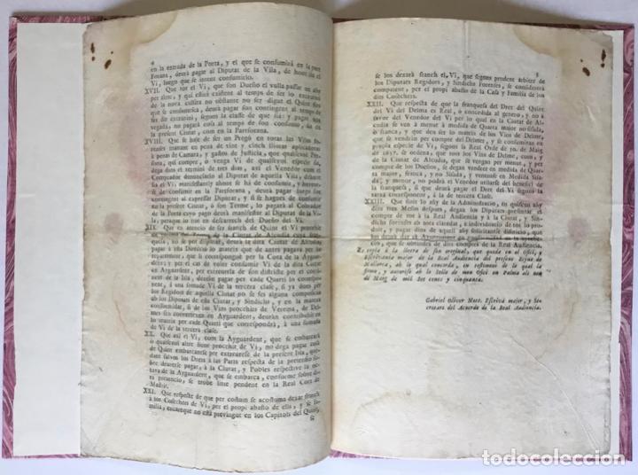 Libros antiguos: CAPITOLS PER EL MES SEGUR, Y PROFITOS GOVERN DE LA DIRECCIO, Y ADMINISTRACIO DE LA NOVA PLANTA PER.. - Foto 2 - 246439400