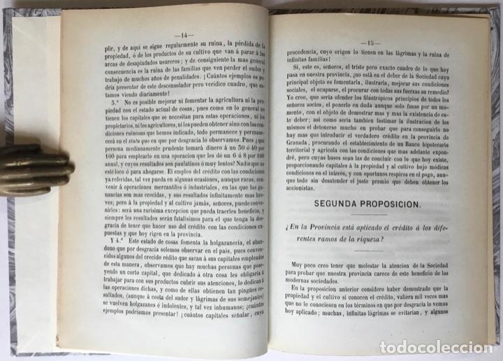 Libros antiguos: CUATRO PALABRAS SOBRE LA NECESIDAD DE ESTABLECER UN BANCO GENERAL DE CRÉDITO EN GRANADA... - Foto 3 - 246440480