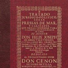 Libros antiguos: TRATADO... SOBRE PRESSAS DE MAR... PARA HACER... EL CORSO. DERECHO LEYES CORSARIOS PIRATAS HISTORIA. Lote 251343475