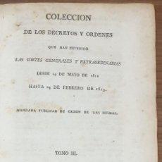 Livros antigos: COLECCION DE LOS DECRETOS Y ORDENES QUE HAN EXPEDIDO LAS CORTES GENERALES 1813 ZW. Lote 253694285