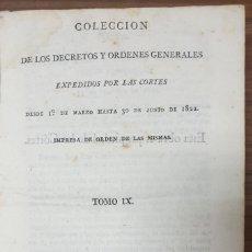 Libros antiguos: COLECCION DE LOS DECRETOS Y ORDENES QUE HAN EXPEDIDO LAS CORTES GENERALES 1822 ZW. Lote 253713450
