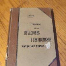 Libros antiguos: TRATADO DE LAS RELACIONES Y SERVIDUMBRES ENTRE LAS FINCAS - JOSÉ PELLA Y FORGAS. Lote 254830925