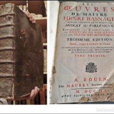 Libros antiguos: AÑO 1709: VOLUMINOSO LIBRO DE DERECHO DEL SIGLO XVIII. IN FOLIO: 40 CM.. Lote 255530630