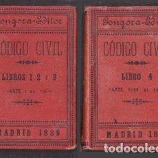 Libros antiguos: CODIGO CIVIL ESPAÑOL LIBROS 1, 2 Y 3 - LIBRO 4. DOS TOMOS - A-DE-640. Lote 256042390