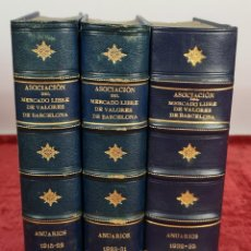 Libros antiguos: ASOCIACION DEL MERCADO LIBRE DE VALORES DE BARCELONA. ANUARIOS. 3 VOL 1915-1935.. Lote 258965565