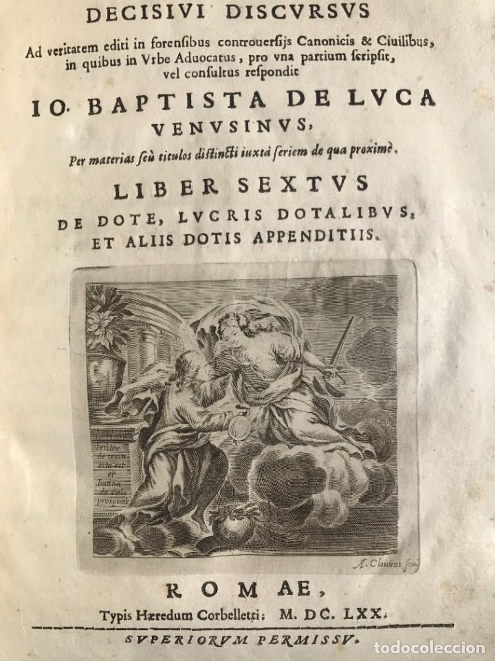 Libros antiguos: 1670 - THEATRUM VERITATIS - DE DOTE, LUCRIS, DOTALIBUS - DERECHO - PERGAMINO - FOLIO - Foto 8 - 259747545