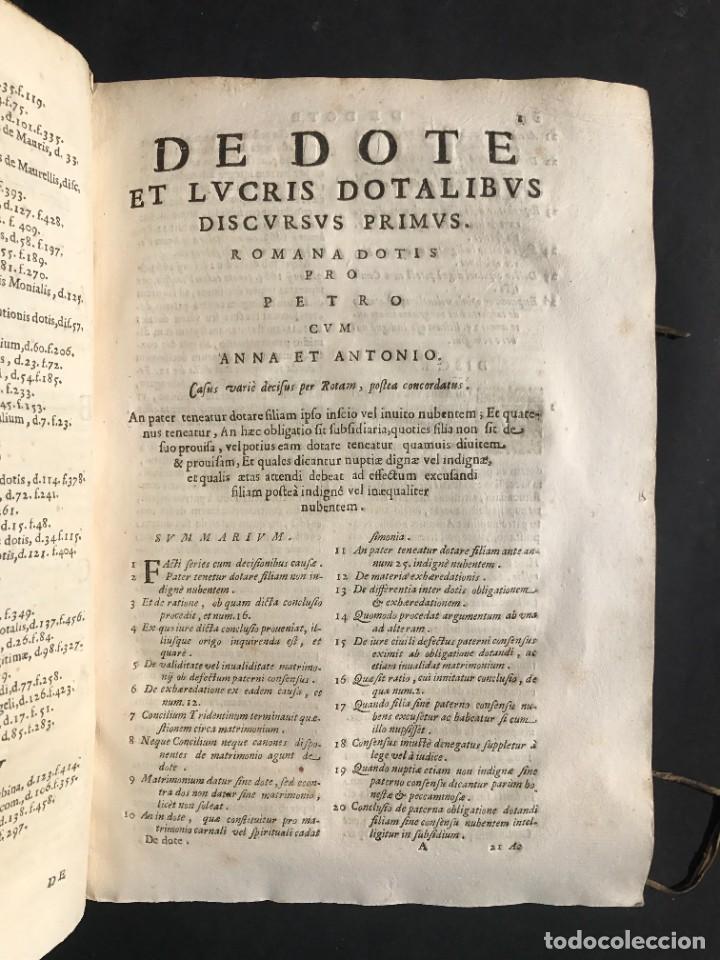Libros antiguos: 1670 - THEATRUM VERITATIS - DE DOTE, LUCRIS, DOTALIBUS - DERECHO - PERGAMINO - FOLIO - Foto 12 - 259747545