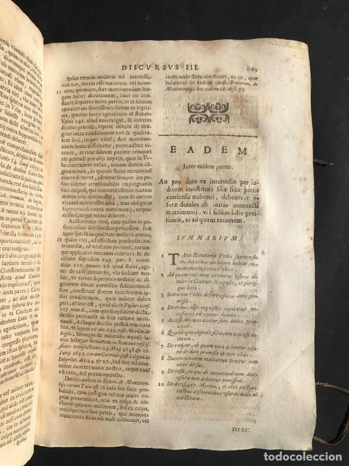 Libros antiguos: 1670 - THEATRUM VERITATIS - DE DOTE, LUCRIS, DOTALIBUS - DERECHO - PERGAMINO - FOLIO - Foto 13 - 259747545