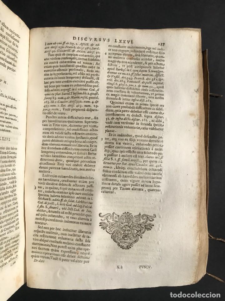 Libros antiguos: 1670 - THEATRUM VERITATIS - DE DOTE, LUCRIS, DOTALIBUS - DERECHO - PERGAMINO - FOLIO - Foto 19 - 259747545