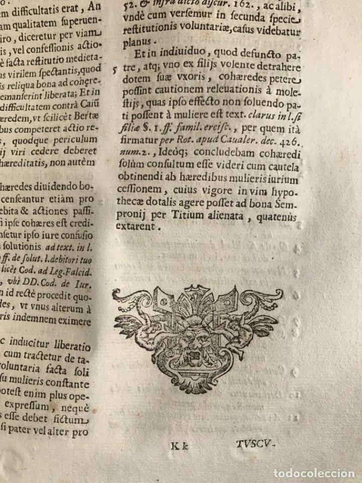 Libros antiguos: 1670 - THEATRUM VERITATIS - DE DOTE, LUCRIS, DOTALIBUS - DERECHO - PERGAMINO - FOLIO - Foto 20 - 259747545