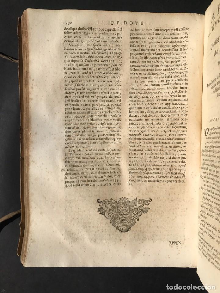 Libros antiguos: 1670 - THEATRUM VERITATIS - DE DOTE, LUCRIS, DOTALIBUS - DERECHO - PERGAMINO - FOLIO - Foto 26 - 259747545