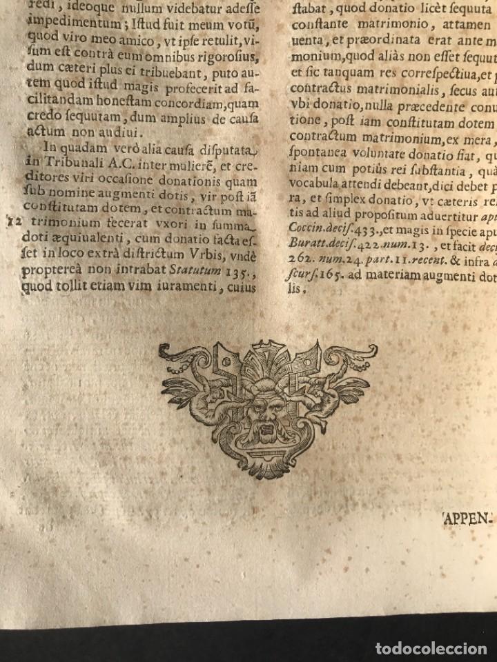 Libros antiguos: 1670 - THEATRUM VERITATIS - DE DOTE, LUCRIS, DOTALIBUS - DERECHO - PERGAMINO - FOLIO - Foto 27 - 259747545