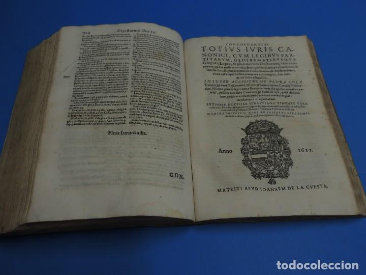 Libros antiguos: CONCORDANTIAE UTRIUSQUE IURIS, CIVILIS, ET CANONIC.- SEBASTIANO XIMENEZ TOLETANO (AÑO 1611) - Foto 17 - 260387965