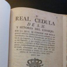 Libros antiguos: 1776 - REAL CÉDULA DE EXENCIÓN DEL SERVICIO ORDINARIO A LOS MOZOS HONRADOS. Lote 263166065