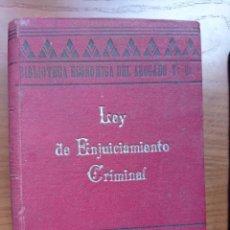 Libros antiguos: LEYES DE ENJUICIAMIENTO CRIMINAL Y DEL JUICIO JURADOS. REVISTA LEGISLACIÓN UNIVERSAL, 1903. MADRID.. Lote 266115663