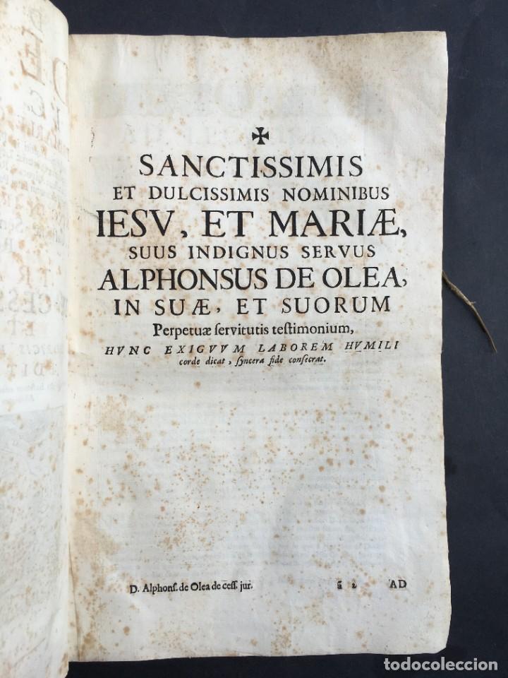 Libros antiguos: Año 1683 - TRACTATUS DE CESSIONE IURIUM - Alfonso de Olea - Pergamino - Derecho - Folio - Valladolid - Foto 5 - 267018889