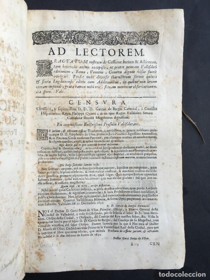 Libros antiguos: Año 1683 - TRACTATUS DE CESSIONE IURIUM - Alfonso de Olea - Pergamino - Derecho - Folio - Valladolid - Foto 6 - 267018889
