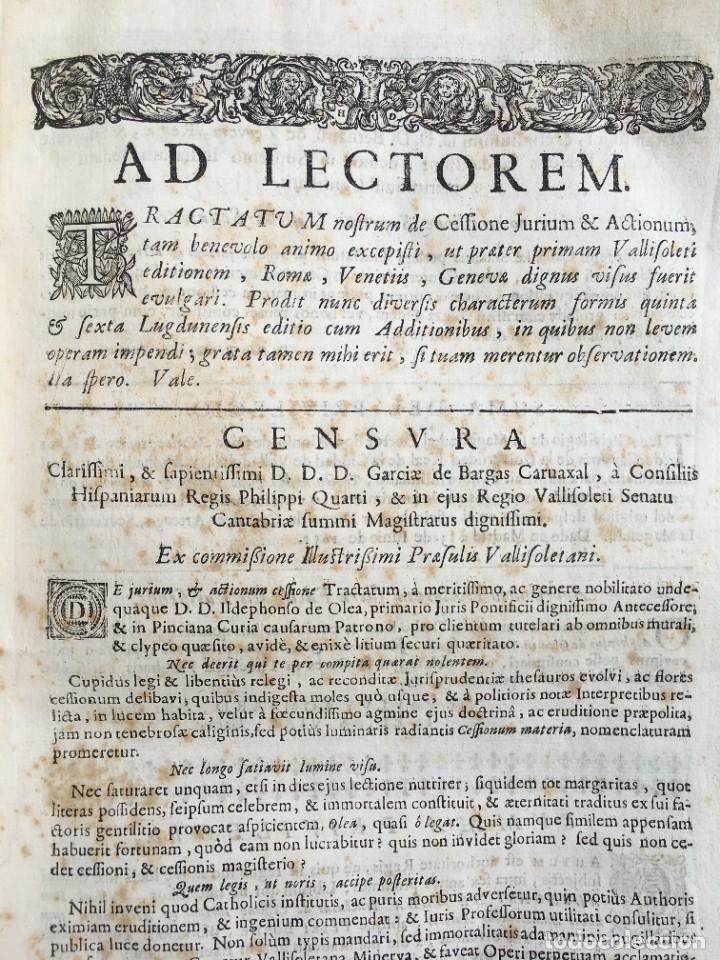 Libros antiguos: Año 1683 - TRACTATUS DE CESSIONE IURIUM - Alfonso de Olea - Pergamino - Derecho - Folio - Valladolid - Foto 7 - 267018889