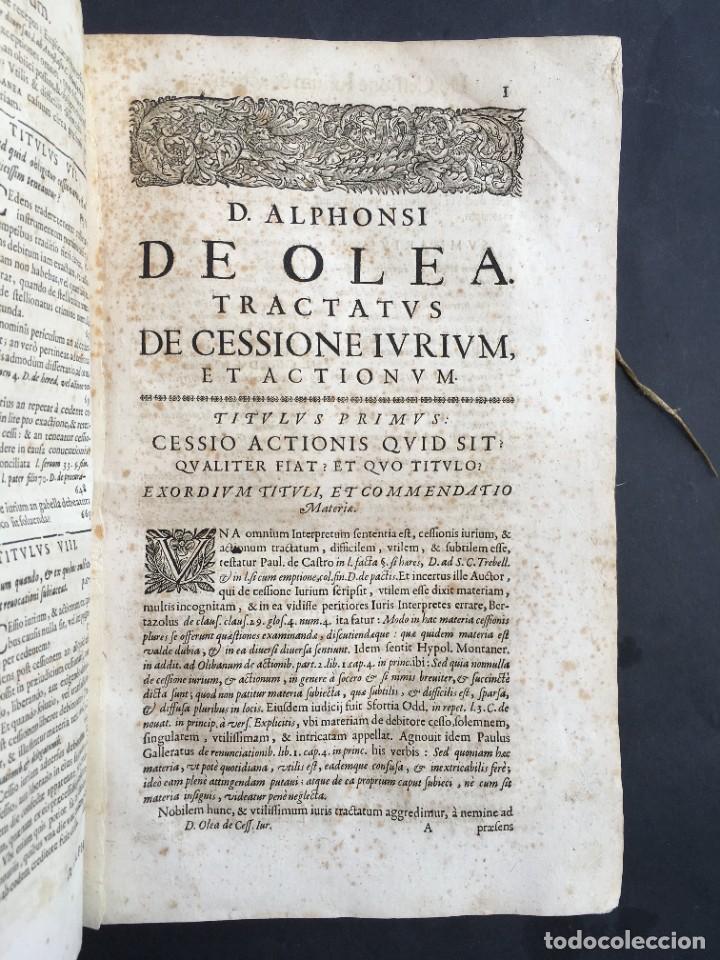 Libros antiguos: Año 1683 - TRACTATUS DE CESSIONE IURIUM - Alfonso de Olea - Pergamino - Derecho - Folio - Valladolid - Foto 9 - 267018889
