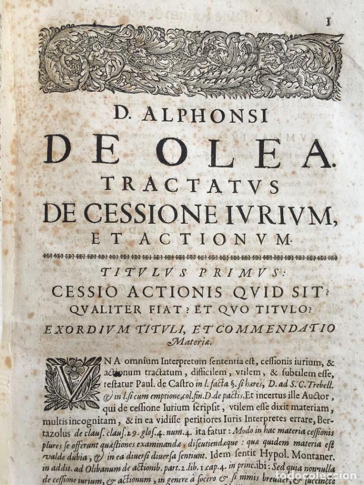 Libros antiguos: Año 1683 - TRACTATUS DE CESSIONE IURIUM - Alfonso de Olea - Pergamino - Derecho - Folio - Valladolid - Foto 10 - 267018889