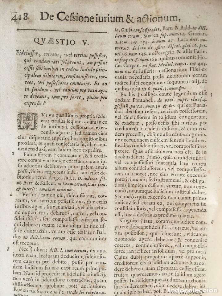 Libros antiguos: Año 1683 - TRACTATUS DE CESSIONE IURIUM - Alfonso de Olea - Pergamino - Derecho - Folio - Valladolid - Foto 26 - 267018889