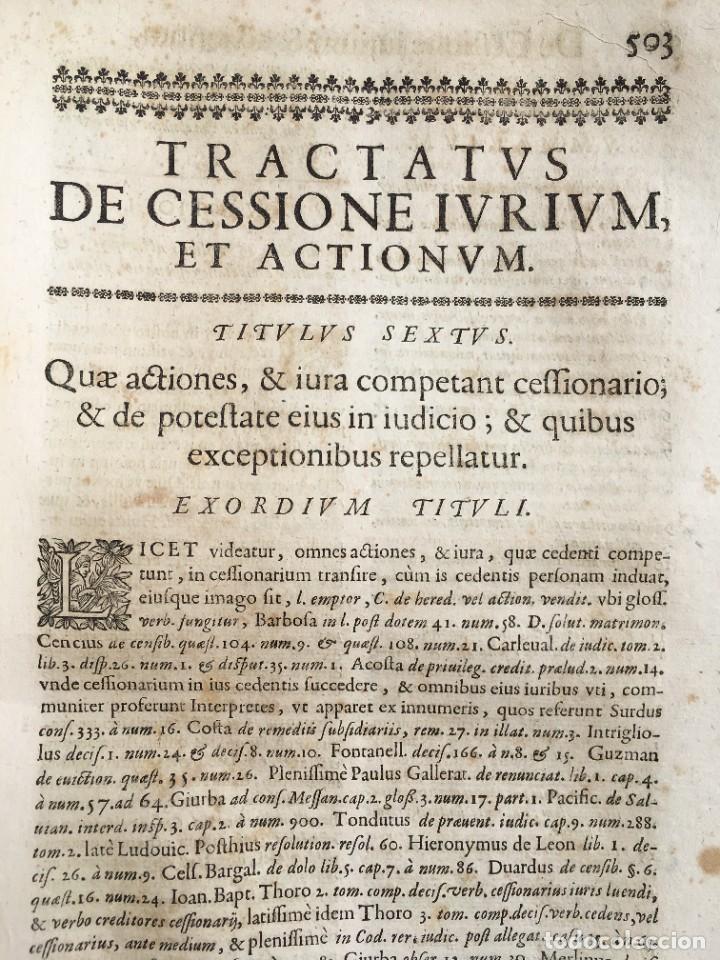 Libros antiguos: Año 1683 - TRACTATUS DE CESSIONE IURIUM - Alfonso de Olea - Pergamino - Derecho - Folio - Valladolid - Foto 31 - 267018889