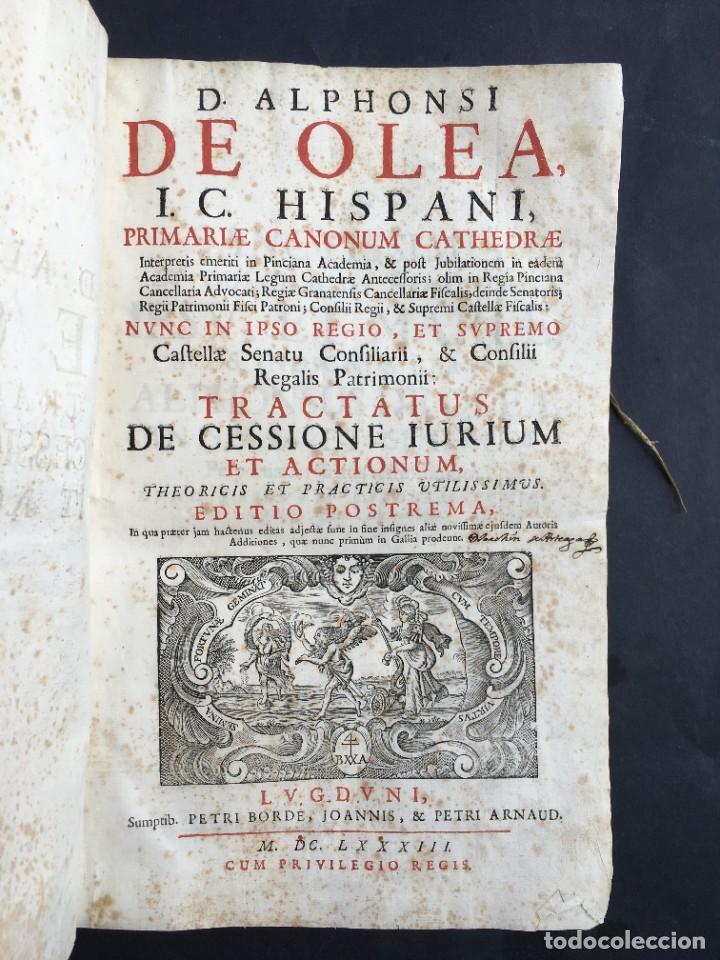 Libros antiguos: Año 1683 - TRACTATUS DE CESSIONE IURIUM - Alfonso de Olea - Pergamino - Derecho - Folio - Valladolid - Foto 3 - 267018889