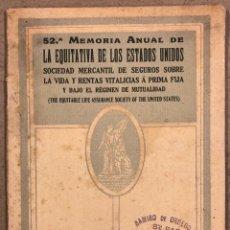 Libros antiguos: 52ª MEMORIA ANUAL DE LA EQUITATIVA DE LOS ESTADOS UNIDOS AL 31 DICIEMBRE DE 1911... Lote 269981018