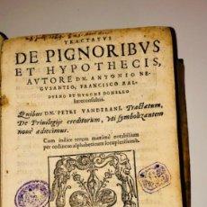 Libros antiguos: AÑO 1562 - TRACTATUS DE PIGNORIBUS ET HYPOTECIS,AUTORE D. ANTONIO NEGUSANTIO - PERGAMINO ORIGINAL. Lote 274272198