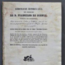 Libros antiguos: 1841.- DEMOSTRACION HISTORICA LEGAL DEL DERECHO DE FRANCISCO DE ORENSE. Lote 277088613