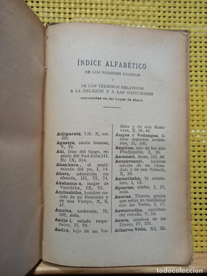 Libros antiguos: Manava Dharma-Sastra / Leyes de Manú - Instituciones religiosas y civiles de la India / 1924 - Foto 5 - 278543023