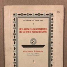 Libros antiguos: IDEAS GENERALES PARA LA FORMACIÓN DE UNA CARTERA DE VALORES INMOBILIARIOS. GUILLERMO ECHEVERRIA. Lote 282566288