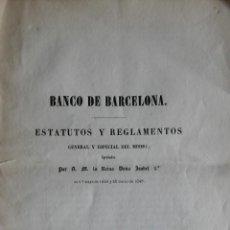 Libros antiguos: BANCO DE BARCELONA. ESTATUTOS Y REGLAMENTOS. BARCELONA, 1845.. Lote 285768628