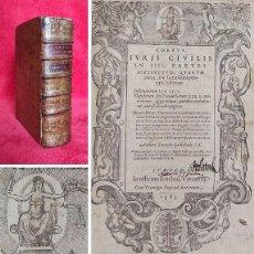Libros antiguos: AÑO 1583 - 24 CM - INSTITUCIONES DEL EMPERADOR JUSTINIANO, MÁS EL DIGESTO DE JUSTINIANO - COMPLETOS. Lote 286228273