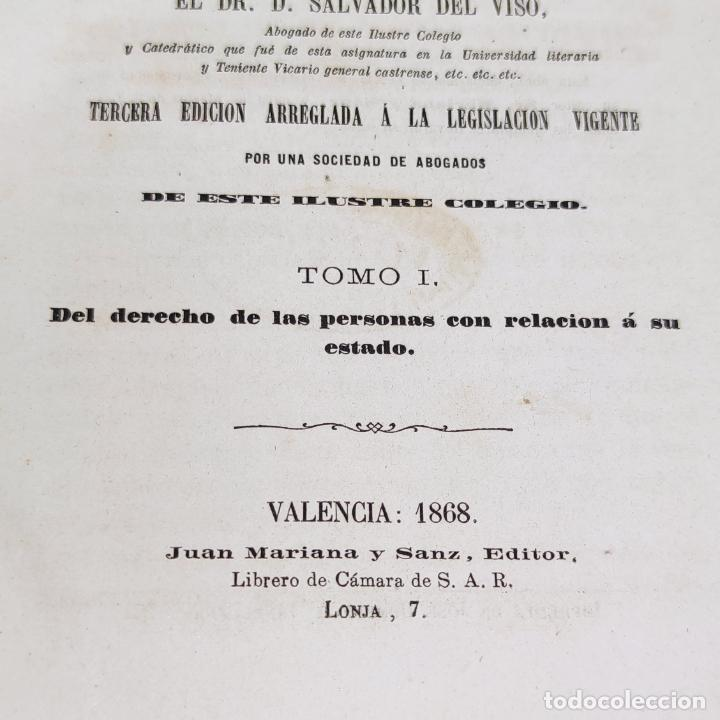 Libros antiguos: Lecciones elementales de derecho civil. Dr. Salvador del Viso. 4 tomos. Valencia. 1868. - Foto 6 - 286275643