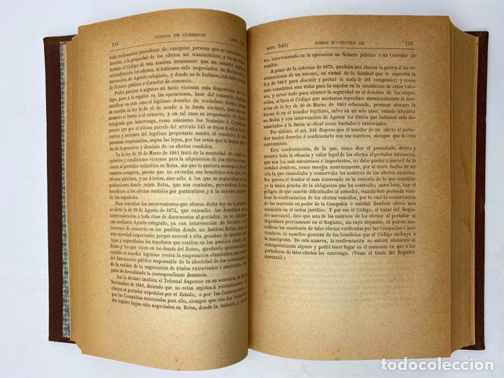 Libros antiguos: CODIGO DE COMERCIO DE 1885. D. JOSE REUS Y GARCIA. TOMO II. MADRID, 1886. PAGS: 647. - Foto 3 - 286636848