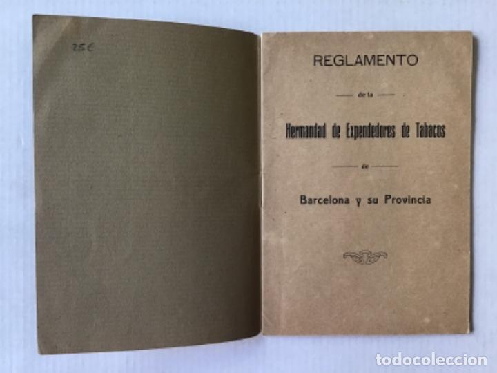 Libros antiguos: REGLAMENTO DE LA HERMANDAD DE EXPENDEDORES DE TABACOS DE BARCELONA Y SU PROVINCIA. - Foto 2 - 286774953