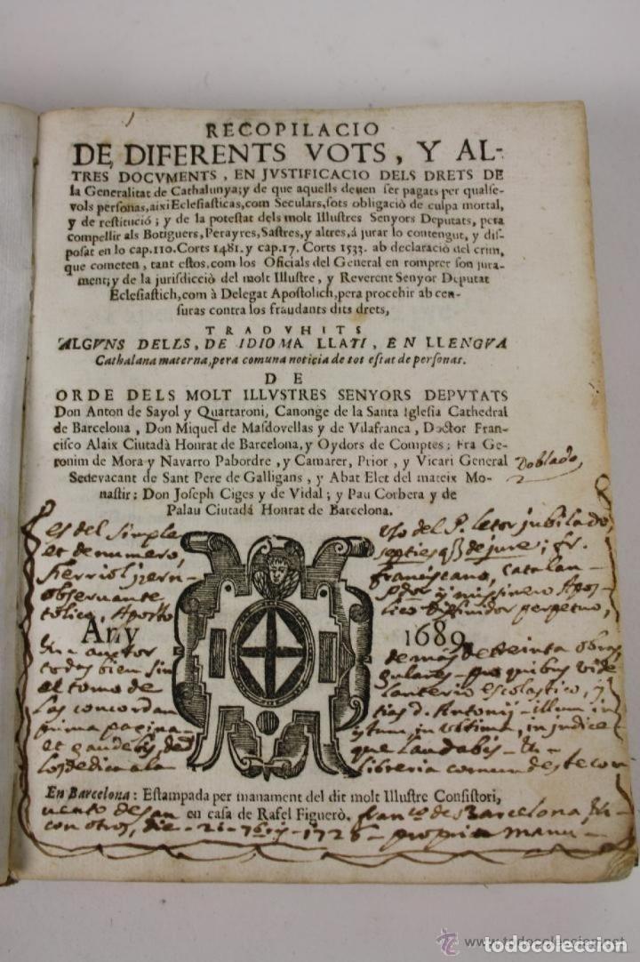 Libros antiguos: RECOPILACIO DE DIFERENTS VOTS, Y ALTRES DOCUMENTS. RAFAEL FIGUERO. BARCELONA 1682 - Foto 2 - 287483283