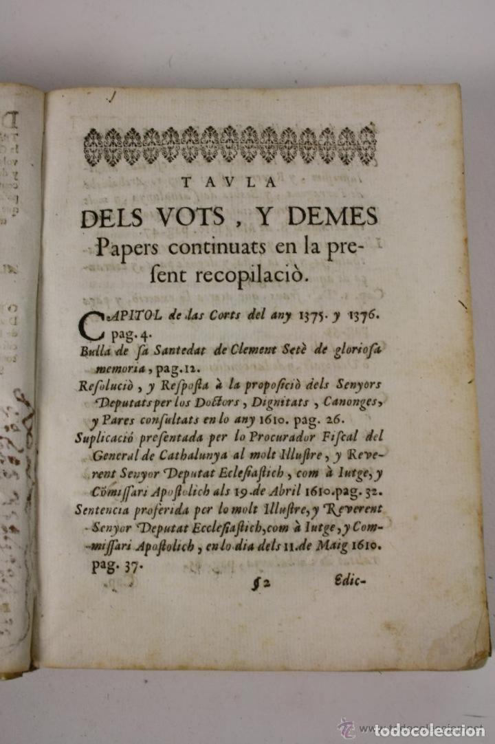 Libros antiguos: RECOPILACIO DE DIFERENTS VOTS, Y ALTRES DOCUMENTS. RAFAEL FIGUERO. BARCELONA 1682 - Foto 4 - 287483283
