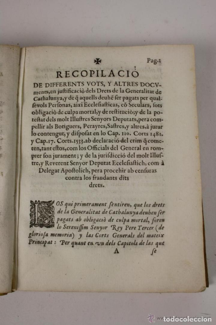 Libros antiguos: RECOPILACIO DE DIFERENTS VOTS, Y ALTRES DOCUMENTS. RAFAEL FIGUERO. BARCELONA 1682 - Foto 5 - 287483283