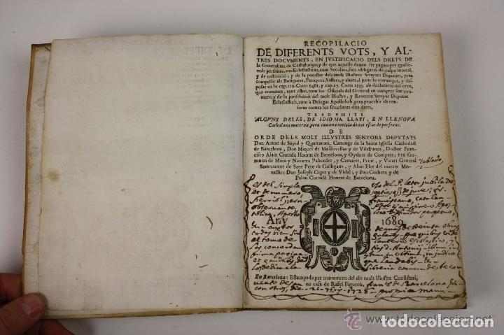 RECOPILACIO DE DIFERENTS VOTS, Y ALTRES DOCUMENTS. RAFAEL FIGUERO. BARCELONA 1682 (Libros Antiguos, Raros y Curiosos - Ciencias, Manuales y Oficios - Derecho, Economía y Comercio)