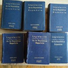 Libros antiguos: LEGISLACIÓN REPÚBLICA ESPAÑOLA LIBRERÍA BERGUA JACOME RUIZ. Lote 287645663